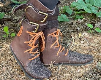 Double Buckle Indies / Renaissance Steampunk LARP Boots Handmade Vibram Flower of Life