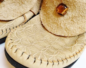NEW! Clean Cut Inca Moccasin FLOWER Of LIFE Hand Etched Art Hand Stitched Soft Bullhide Leather Upper Durable Vibram Sole Woodland Earthy