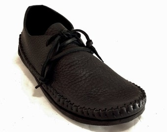 BLACK or CHOCOLATE BROWN Sneakasin Moccasin Hand Stitched Soft Bullhide Leather Upper Durable Flexible Vibram Sole Mens Womens Moccasins