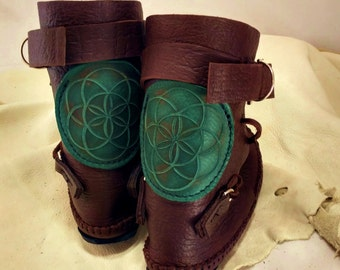 Seed of Life Shin High Indie Moccasin With Buckles Hand Stitched Soft Bullhide Leather Upper With A Durable VIBRAM Sole / Renaissance