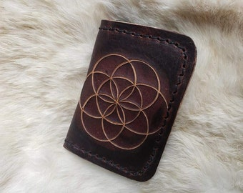 Bison Leather Wallet / Seed of Life, Handmade, Hand Etched, Leather, Custom, Simple, Minimalism, Durable