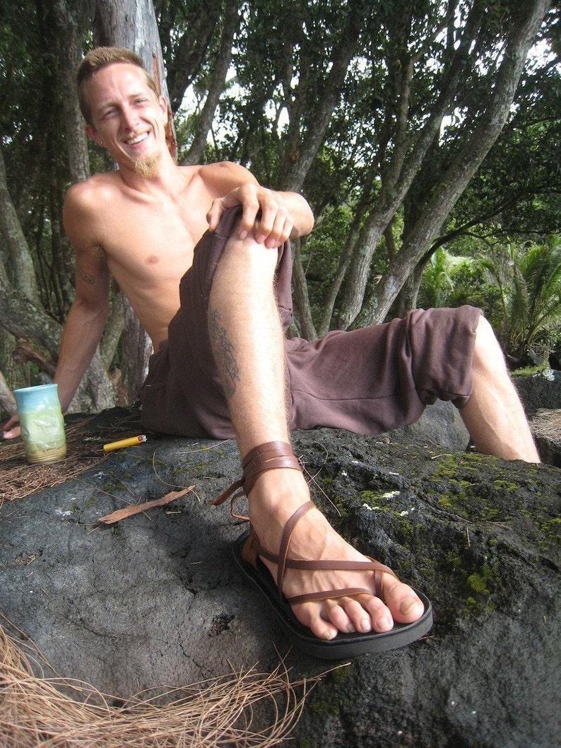 Mens leather minimalist lace up Sandal image 0