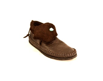 Raw Cut Inca Chocolate Brown Moccasin / Turquoise Stone Hand Stitched Soft Bullhide Leather Upper With A Durable VIBRAM Sole /  Renaissance