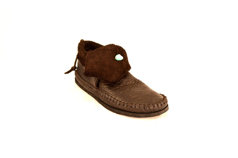 Raw Cut Inca Chocolate Brown Moccasin with Turquoise Stone image 0