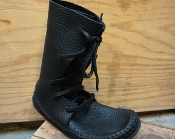 Plain Shin High Moccasin Black Hand Stitched Thick Bullhide Leather Upper With A Vibram / Rubber Sole / Minimalist / Renaissance