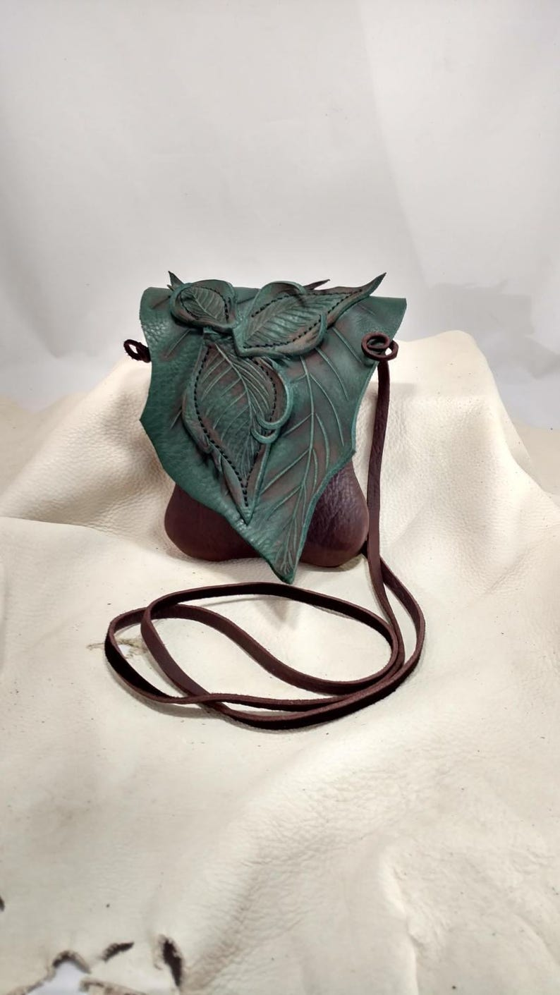 Small Leather Leaf Forest Purse / Hip Bag image 0