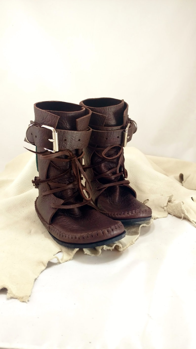 Chocolate Brown Shin High Indie Moccasin With Buckles Hand image 0
