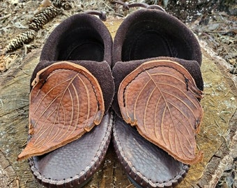 Leaf Inca Moccasins / Zero Drop Minimalist Leather Bullhide Durable Nature Handmade Festival