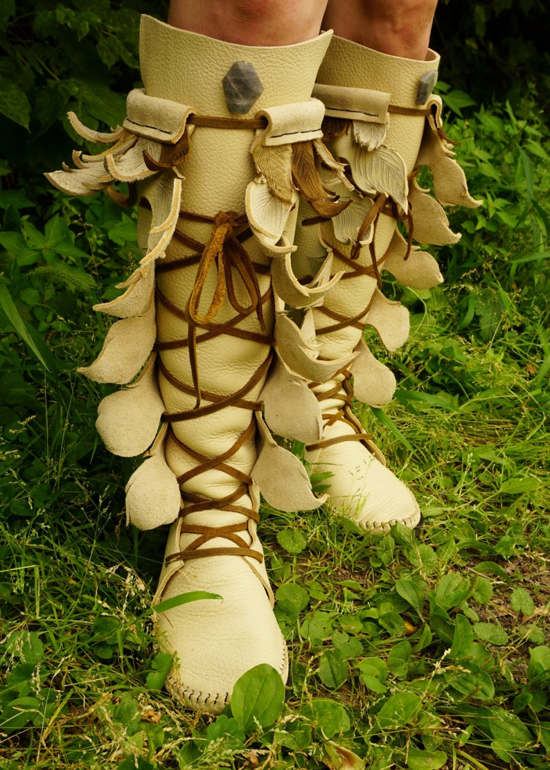 298613b8d02 Cream Knee High Forest Boot Moccasin with Seed Of Life Pockets