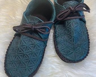 Flower of Life Sneakasins in Teal / Sacred Geometry Earthing Festivals Handmade Leather Fun Custom