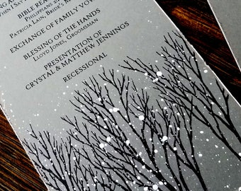 winter wedding program winter wonderland wedding program snowy wedding programs wedding program rustic winter tree hand painted program