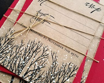 Christmas wedding invitations winter wedding invitation rustic wedding invite red wedding invitation snowy wedding invitations tree invite