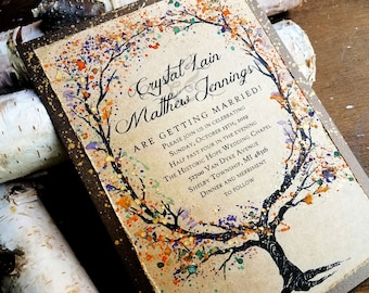 fall wedding invitations rustic wedding invitations woodland wedding invitations hand painted wedding invitations sample set
