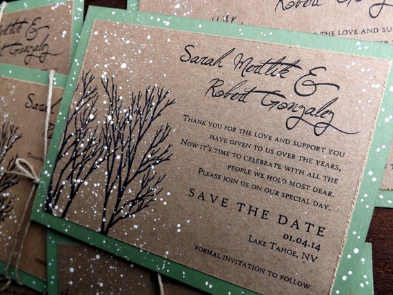 winter wedding save the date card snow save the date winter etsy