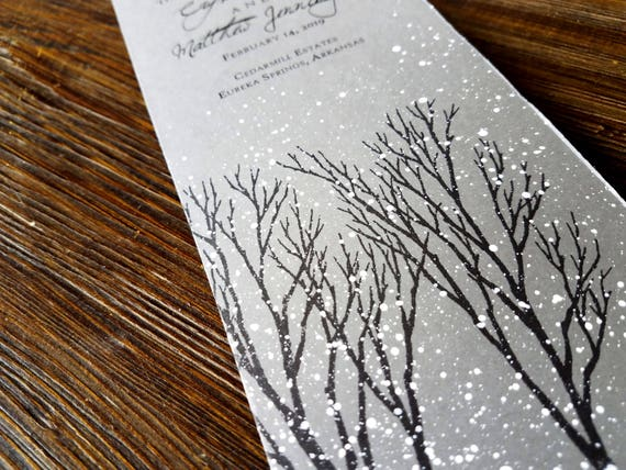gray winter wedding program winter wonderland wedding program etsy