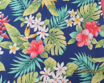 "TIARE FLOWER BLUE BY TRENDTEX FABRICS FLEECE PRINT FABRIC 60/"" WIDTH BY YARD AL"