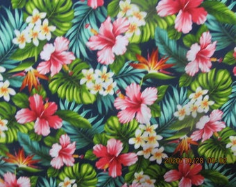 Hawaiian Roses and Floral print on Black from Marianne of Maui
