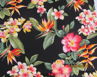 Hawaiian Quilting Fabric 2018 Black with Yellow Orchids Hibiscus and Heliconia from Marianne of Maui