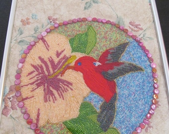 Embroidered Beaded Wall Hanging HAWAIIAN BIRD I' Iwi at Hibiscus by Marianne of Maui