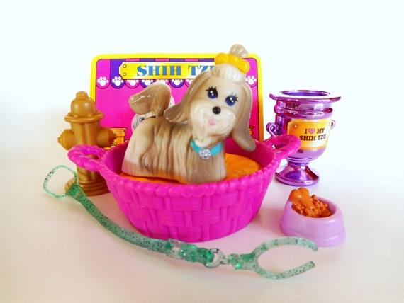 Vintage Littlest Pet Shop Lively Shih Tzu With Puppy Nest Etsy