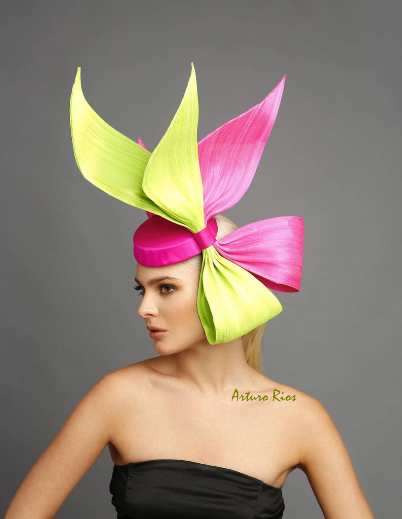 71e7ce602a837 Neon Green  Hot pink bow fascinator derby fascinator