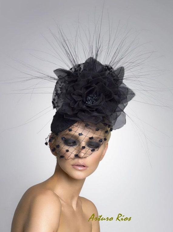 Fascinator de costura negro sombrero de cóctel sombrero de  b659a6b90bb