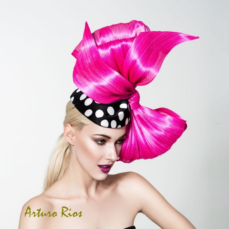134c47b3afc Polka dot pillbox hat with hot pink bow Pink Kentucky derby