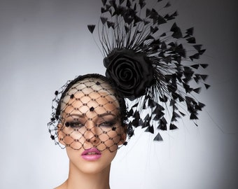 Black Couture Fascinator, Kentucky derby hat, cocktail hat, headpiece,  melbourne cup fascinator, Royal ascot hats.