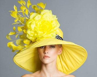 Kentucky Derby Yellow Hat, Couture derby hat, Yellow derby hat,  Spring hat, derby day.
