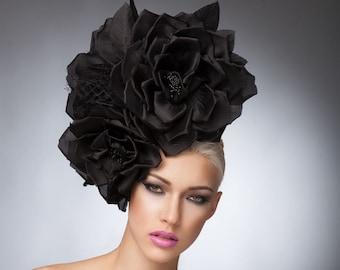 Couture Black Silk roses headpiece with veil, Black Fascinator, Cocktail Hat, Avant garde Hat, Derby hats