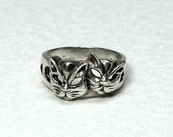 Womens Cat Ring, Vintage Animal Ring, Size 6.75