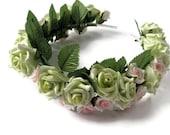 Christmas sale Wedding Tiara Pink Green  Roses  leaves Spring bride Gothic green flora headpiece woodland bride