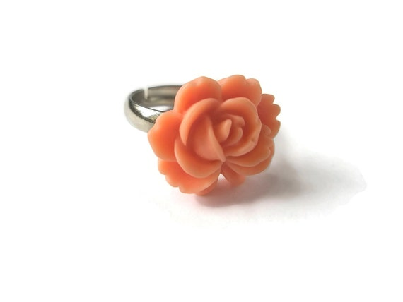 Rose Ring Flower Rings Coffee Latte  Adjustable Silver band Handmade by Frutti Tutti Bead Candy
