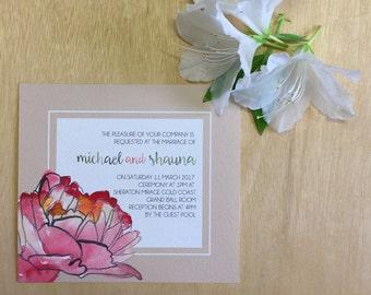 Printable Wedding Invitation - Neutral Peony Watercolour Wedding Invitation (1 Piece)