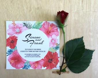Printable Wedding Invitation - Hibiscus Wedding Invitation (1 Piece)