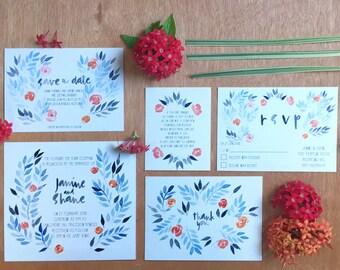 Printable Wedding Invitation - Blue & Indigo Leaves Wedding Invitation Suite (5 Pieces)