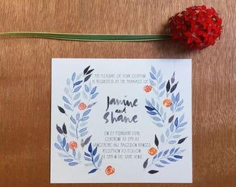 Printable Wedding Invitation - Blue & Indigo Wedding Invitation (1 Piece)