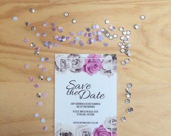 Save The Date Wedding Invitation Printable - Grey & Purple Roses Save The Date Wedding Card (1 Piece)