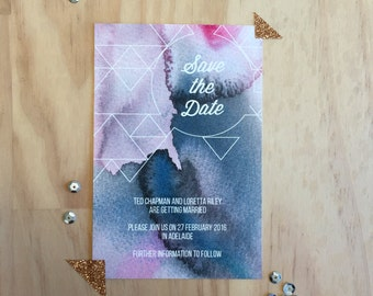 Printable Wedding Stationery - Geometric Watercolour Save The Date Wedding Card (1 Piece)