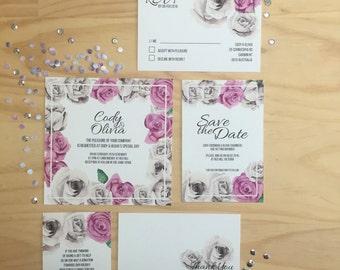 Wedding Invitation Printable - Grey & Purple Roses Wedding Invitation Suite (5 Pieces)