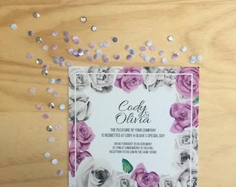 Wedding Invitation Printable - Grey & Purple Roses Wedding Invitation (1 Piece)