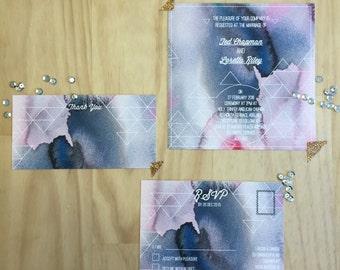 Printable Wedding Stationery - Geometric Watercolour Wedding Invitation Suite (3 Pieces)