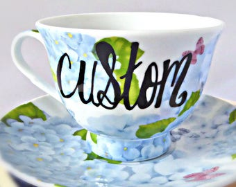 Custom Cup and Saucer, funny bridesmaid gift, funny best friend gifts, gift for her, sarcasm, naughty, bride tea, swear words, personalize