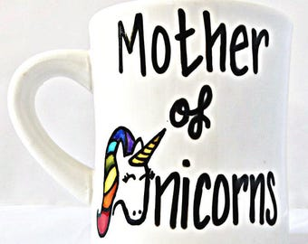 Mother of Unicorns, Funny Unicorn Mug, Coffee Cup, Game of Thrones, Daenerys Targaryen, Unicorn Rainbow Mug, Unicorn Lover, Personalized