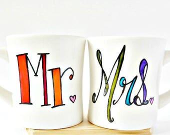 Mr and Mrs Mugs, Couples Mugs, Wedding Mugs, Personalized, Hand Painted, Rainbow, Coffee Mug, Mr Mrs Mugs, Bride, Groom, Gift, Mug Set