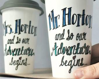 Couples Mug set, wedding gift, honeymoon gift, travel mug, his and hers gift, custom gift, wedding mugs, couples mugs, personalized, unique