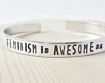 Feminism Is Awesome AF, feminist, feminism, adjustable, funny bracelet, swear words, funny jewelry, gift for her, motivation, inspiration