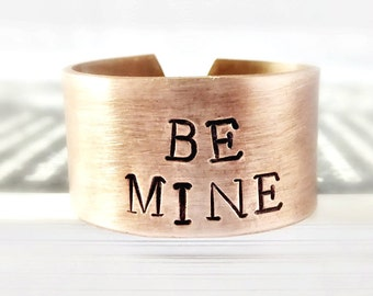 Be Mine, Wide Adjustable Band, Romantic Valentine Gift for Boyfriend, Sexy Valentine Gift for Husband Romantic Jewelry for Girlfriend, Wife