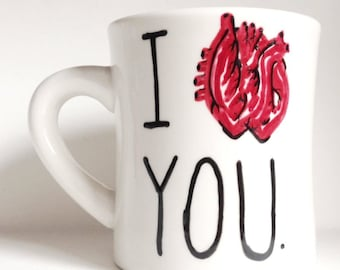 Funny Mug, coffee cup, unique valentine gift for husband, science gift for valentine, I love you, biology, anatomical heart, human anatomy