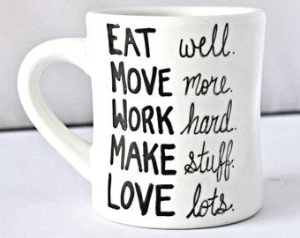 Coffee mug, Inspirational Mug, Motivational Mug, Affirmation mug, office, new years resolution, positivity, hand lettered, gift for her
